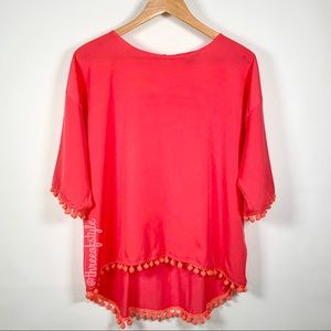 French Connection Pom-Pom Tee in Fire Coral Large
